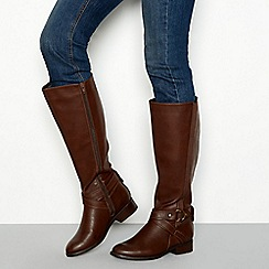 Good for the Sole - Brown 'Gomez' block heel knee high riding boots