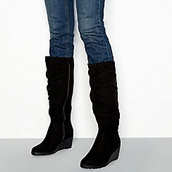 Good for the Sole - Black suede-effect wedged knee high boots