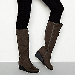 Good for the Sole - Grey suede-effect wedged knee high boots