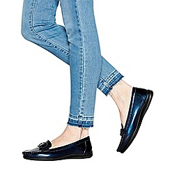 Good for the Sole - Navy patent buckle 'gone' wide fit loafers
