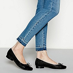 Good for the Sole - Black glitter wide fit ballet pumps