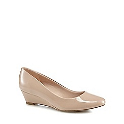 Good for the Sole - Nude patent 'Gretchen' mid wedge heel wide fit court shoes