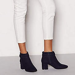 Good for the Sole - Navy suedette 'Gloud' block heel ankle boot