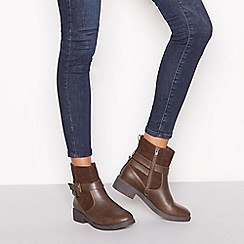 Good for the Sole - Chocolate brown faux leather 'Grey' wide fit flat ankle boots