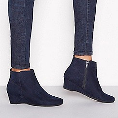 Good for the Sole - Navy suedette 'Geri' wedge heel wide fit ankle boots