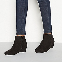 Good for the Sole - sBlack suedette 'Geri' wedge heel ankle boots