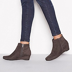Good for the Sole - Dark grey suedette 'Geri' wedge heel wide and comfort fit ankle boots