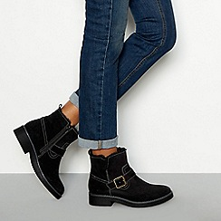 Good for the Sole - Black suede 'Lilah' faux fur lined block heel biker boots