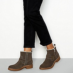 Good for the Sole - Grey suede 'Lilah' faux fur lined biker boots