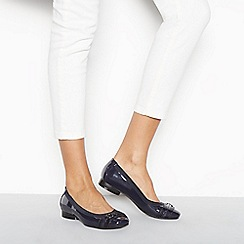 Good for the Sole - Navy patent 'Gaba' wide fit ballet pumps