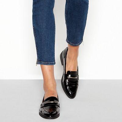 218c623c07f Principles - Black patent block heel penny saddle loafers