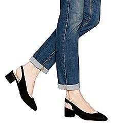 Principles - Black suedette patent 'cling' mid block heel wide fit slingbacks