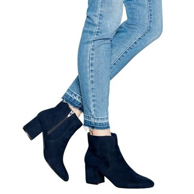 Principles - Navy suedette mid block heel ankle boots