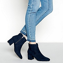 Principles - Navy suedette 'Catrelle' mid block heel ankle boots