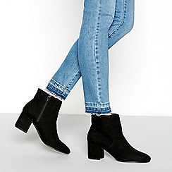 Principles - Black suedette mid block heel ankle boots