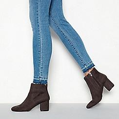 Principles - Dark grey suedette 'Catrelle' mid block heel ankle boots