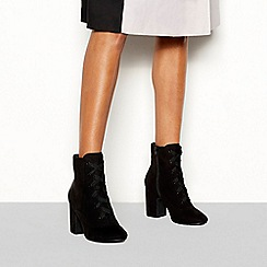 Principles - Black suedette 'Cace' block heel lace ankle boots