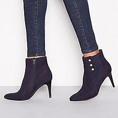 Principles - Navy suedette 'Captain' heeled ankle boots
