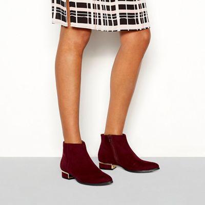 Principles - Red suedette 'Celia' block heel ankle boot