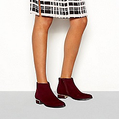 Principles - Red suedette 'Celia' block heel ankle boots