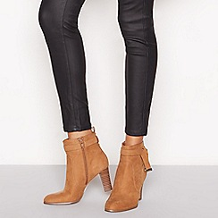 Principles - Tan suedette 'Cece' heeled ankle boots