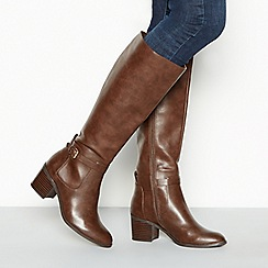 Principles - Dark brown 'Cosette' block heel wide fit riding boots