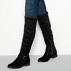 Principles - Black suedette block heel knee high sock boots