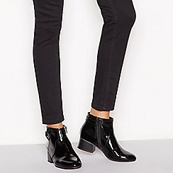 Principles - Black patent 'Cimba' block heel ankle boots