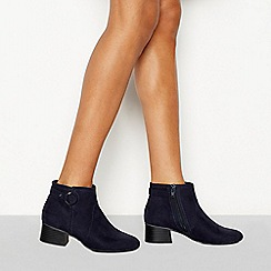 Principles - Blue suedette 'Cimba' block heel wide fit ankle boots