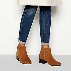 Principles - Brown suedette 'Cimba' block heel wide fit ankle boots