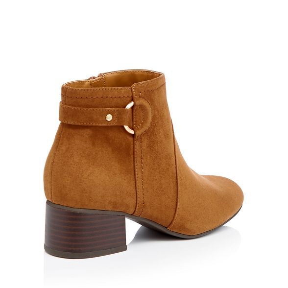 Brown heel fit ankle Principles boots suedette block 'Cimba' wide OTgUqdg