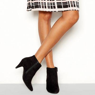 Principles - Black suedette 'Cassie' stiletto heel wide fit boots