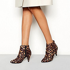 Principles - Multi-coloured leopard print suedette 'Cassie' stiletto heel wide fit boots