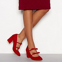Principles - Red suedette 'Cowl' block heel wide fit court shoes