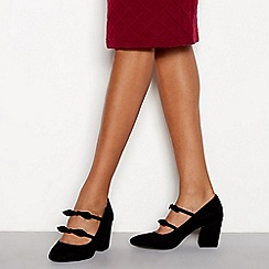 Principles - Black suedette 'Cowl' block heel wide fit court shoes