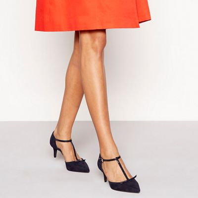 Wide FitPrinciples - Navy suedette 'Chester' mid kitten heel T-bar shoes