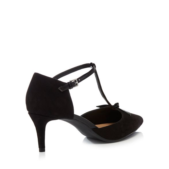 'Chester' suedette bar Black kitten Principles mid T heel shoes O7vPWwq