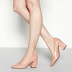 The Collection - Pink patent 'cooper' mid block heel court shoes