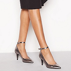 Principles - Metallic faux leather 'Cattie' high stiletto heel ankle strap pointed shoes