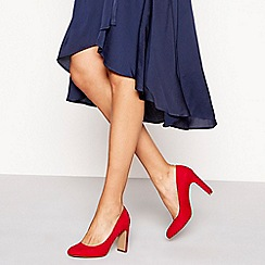 Principles - Red suedette 'Coven' high block heel court shoes