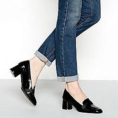 Principles - Black patent 'crown' mid block heel loafers