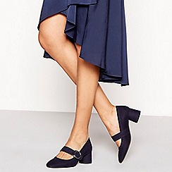 Principles - Navy suedette buckle 'Coffee' mid block heel Mary Jane court shoes