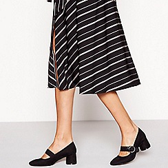 Principles - Black suedette buckle 'Coffee' mid block heel Mary Jane court shoes
