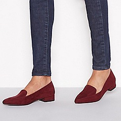 Principles - Wine red suedette 'Civil' flat wide fit loafers