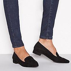 Principles - Black suedette 'Civil' flat wide fit loafers