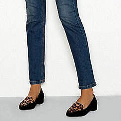 Principles - Black block heel pointed toe loafers