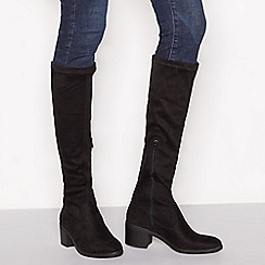 Principles - Black suedette stretchy block heel knee high boots