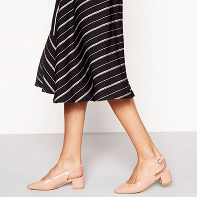 Wide FitPrinciples - Natural patent 'Cling' mid block heel wide fit slingbacks