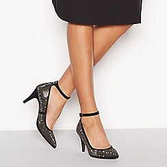 Principles - Black suedette embellished 'Cattie' high stiletto heel ankle strap pointed shoes