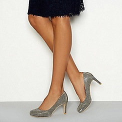 Debut - Silver glitter 'Dourtney' high stiletto heel court shoes
